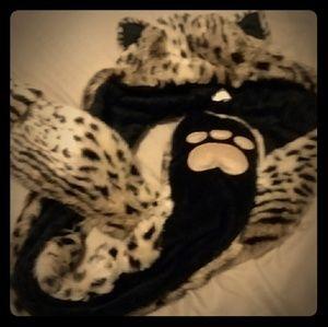 Furry leopard print hat